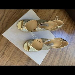 Jimmy Choo gold shoes size 39